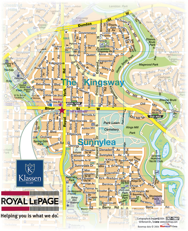 Map for Real Estate Agent in Kingsway Etobicoke and Real Estate Agent in Sunnylea Etobicoke
